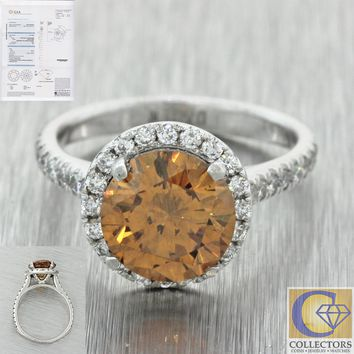Modern Estate Platinum 2.17ct GIA Fancy Yellow Orange Halo Engagement Ring J8