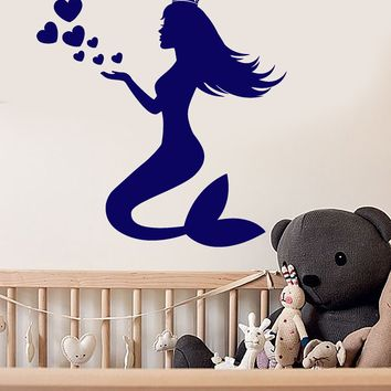 Vinyl Wall Decal Queen Crown Mermaid Silhouette Heart Symbol Stickers (2135ig)
