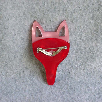 """Lea Stein Pin Long Fox Face Brooch Pink And Rose Celluloid 3"""" Tall French Designer Signed Paris France Vintage Costume Jewelry"""