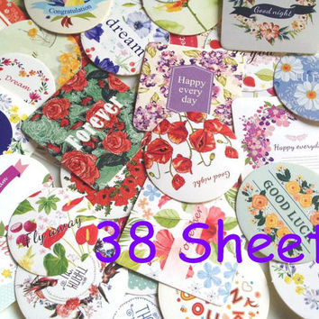 flower sticker set rose floral round sticker colorful flower envelope seal label floral flower garden pattern sticker paper Gift bag seal