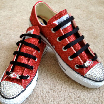 NFL-Glitter Swarovski Red Team Converse Shoes-Kansas City Chiefs