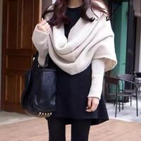 Extra Fashion Women/Man Solid Knitting Wool Handmade Loose Scarfs With Sleeve COAT006 = 1930401540