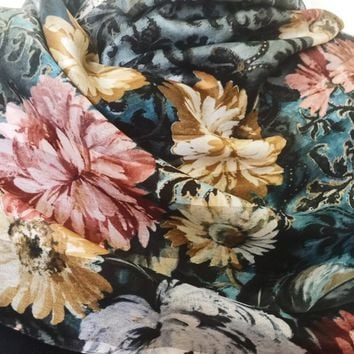 Vintage Floral Scarf, Vintage Accessory, Beautiful Rich Colors, Versatile