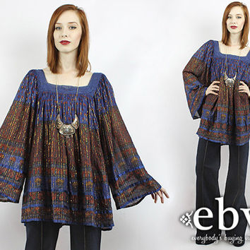 Vintage 70s Hippie Boho India Babydoll Tunic Top 2X 3X Plus Size Vintage Hippie Tunic Bell Sleeve Tunic Indian Cotton Tunic Indian Tunic