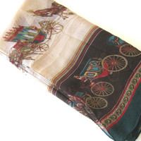 Vintage Hermes style graphics Viscose Scarf, Woman's Accessory, French Country Shawl, Equestrian