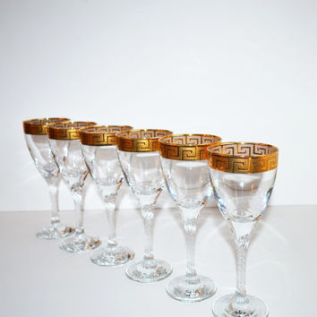 Vintage Wine Glasses Goblets Gold Greek Key Pattern Wine Glasses Cocktail Glasses Glassware Set of 6 Glasses Holiday Entertaining