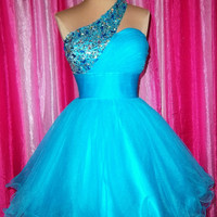 Charming Hot Blue A-line One-shoulder Mini Prom Dress/Homecoming Dress