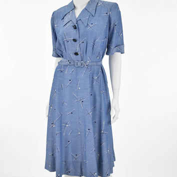 40's Blue Novelty Print Shirtwaist Dress-XL