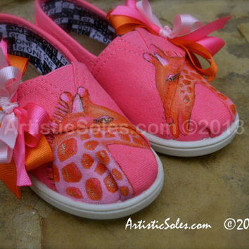 Hand Painted Custom TOMS - Giraffe Love - Toddler/Tiny TOMS