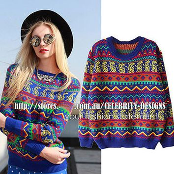 Women Tribal Aztec Digital Print Fitted Knitted Sweater Jumper Tops Pullover Knitwear 2016 New Free Shipping SW94