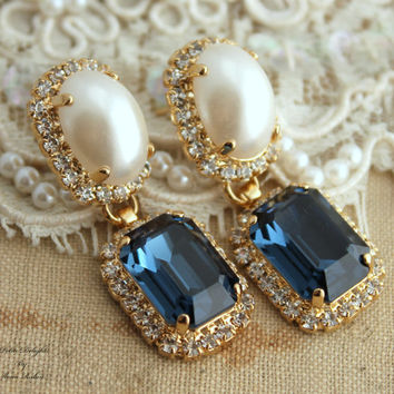 Navy blue and white pearl Chandelier Classic Swarovski Rhinestone earrings , wedding jewelry- 14k gold post earrings swarovski Champagne