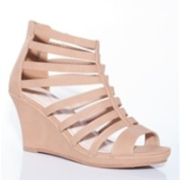 Strappy Open Toe Gladiator Wedge Sandals - Beige