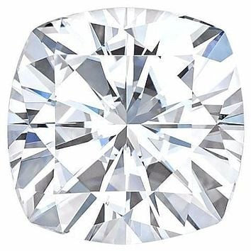 Certified Cushion Forever One Charles & Colvard Loose Moissanite Stone - 2.00 Carats - D Color - VVS1 Clarity