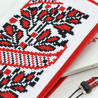 ON SALE Ethnic hand embroidered red iPhone Case | Folk Cross stitched phone case | iPhone 5 Case | iPhone 6 case