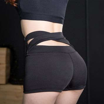 Yoga Shorts Women High Waist Bandage Sport Shorts Fitness Quick Dry Hollow Out Short Gym Shorts Running Workout Leggings Bottom