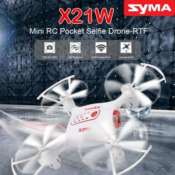 Original SYMA X21W RC Helicopter 2.4G 4CH Remote Control Quadcopter with 720P WiFi FPV Real Time Camera Aircraft Drone Best Gift