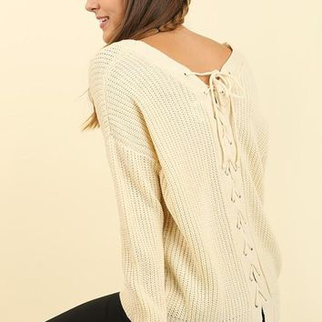 Long Sleeve V Neck Sweater with Drawstring Back - Cream