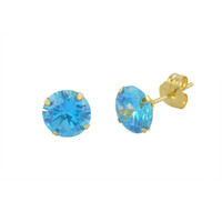14k White Gold Blue Topaz Cubic Zirconia Stud Earrings Round Birthstone CZ