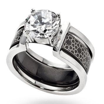 Stainless Steel & Black Engraved Ring in a Ring
