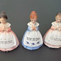 Three Vintage Enesco Prayer Lady Shakers Two Pink One Blue