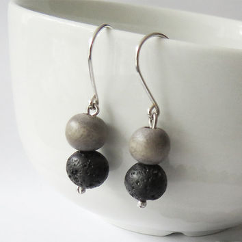 Lava and wood Silver Earrings inspired by iceland  - Rock Jewelry - Everyday Use Jewelry - Simple Handmade Jewelry