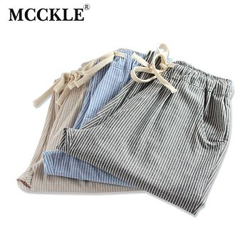 Woman Linen Striped Harem Pants Fashion Women Cotton Loose Striped Full Pants Female  Casual Pants