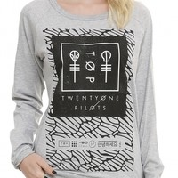 Twenty One Pilots Pattern Logo Print Grey Long Sleeve Cute Pullovers Sweatshirts