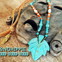 Boho Hippie necklace, Native American inspired Yoga pendant
