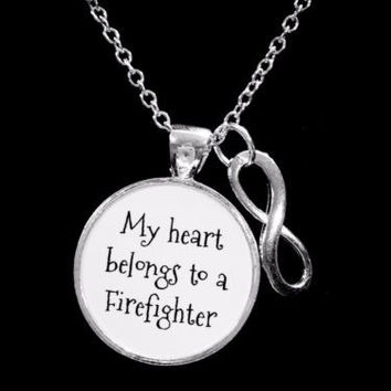 My Heart Belongs To A Firefighter Fireman Wife Girlfriend Infinity Gift Necklace
