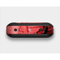 The Scratched Red Surface with Black Music Note Skin Set for the Beats Pill Plus