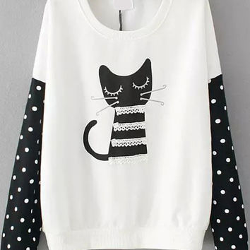 White Cat Print Polka Dot Contrast Lace Long Sleeve Sweatshirt