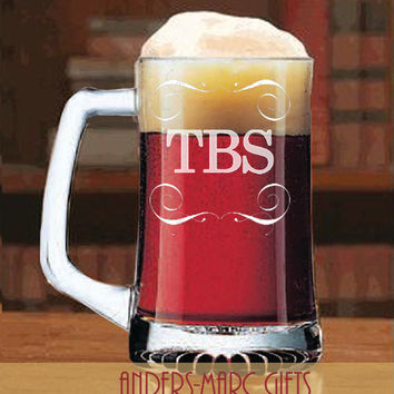 Sports Beer Mug with Initials or Monogram Personalized  * Classic 15 oz. style perfect for any occasion * Great Groomsmen Wedding FavorGift!