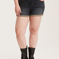 Torrid Skinny Short Shorts - Dark Wash with Rolled Hem and High Rise Waist
