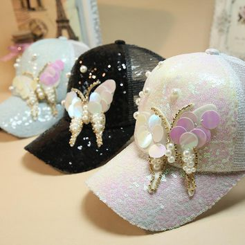 Trendy Winter Jacket Luxury Women Baseball Cap Brand Bling butterfly Pearl Sequins Hip Hop Cap Vintage Snap Back Design Cap Casual Snapback Hat New AT_92_12