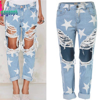S-3XL Gagaopt American Apparel 2016 Fashion Hole with Star Jeans for Women Plus Size Beggar Hole Ripped Pants&Trousers Calcas