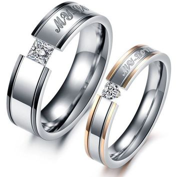 1PCS Fashion Jewelry Punk Style Mens OR Womens Gold 316L Stainless Steel Lover's CRYSTAL Rings Couples Wedding Bands Promise Ring Set From Milkle Gift [8958434631]