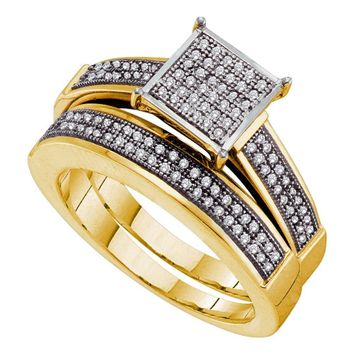 Yellow-tone Sterling Silver Womens Round Diamond Cluster Bridal Wedding Engagement Ring Band Set 1/3 Cttw