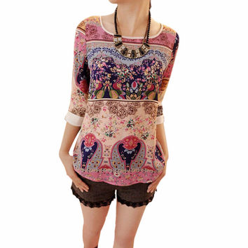 New Korean Style Women's 3/4 Sleeve Shirt Floral Top Girl Casual Slim Blouse 5 Size