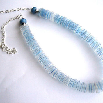 Recycled plastic bottle blue necklace upcycled by dekoprojects