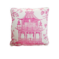 Contemporary Decorative Oriental Pagoda Raspberry Hot Pink Throw Pillow