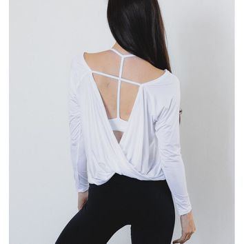 Loose backless backless unlined upper garment unlined upper garment of yoga exercise White