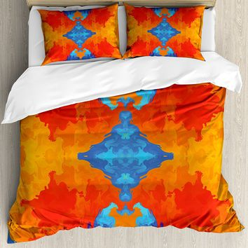 Trippy Duvet Cover Set Kaleidoscopic Motif Vibrant Blue and Orange Psychedelic Symmetrical Pattern Decor 4 Piece Bedding Set
