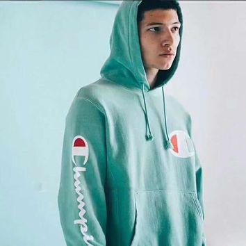 Champion Mint green long sleeve sweater hoodies H-A-XYCL