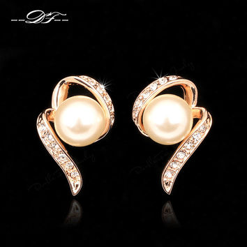 Double Fair Romantic Gold Plated Pearl Stud Earrings Women Dfe231