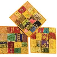Boho Decorative Indian Throw Pillow Cases Cotton Yellow Embroidered Patchwork Cushion Cover Set Of 3