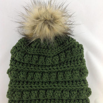Pom Pom Hat - Bobble Hat - Bobble Toboggan - Womens Winter Hat - Toboggan Hat - Pom-Pom Hat - Fur Pom Pom - Winter Fashion Hat - Crochet