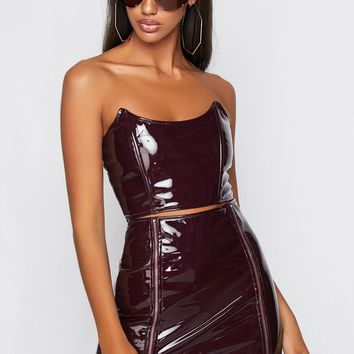 Killer Queen Latex Two Piece Skirt Set Burgundy