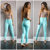 A High Waisted Aqua Skinny