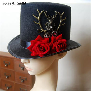 Vintage Gothic Steampunk Victorian Top Hat with Deer Antler and Flower Decorstion for Ladies