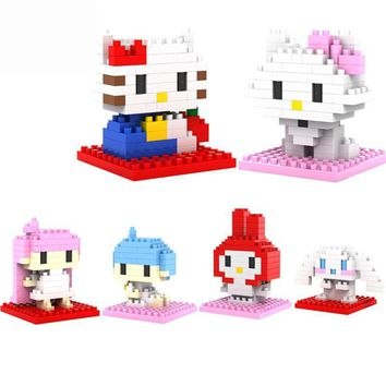 BOHS Hello Kitty 6sets/lot  Diamond  Building Blocks Sets Educational Bricks Toys